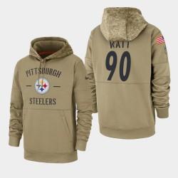 Steelers de Pittsburgh Hommes 90 T.J. Watt 2019 Salut au service Sideline Therma Hoodie - Tan