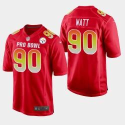 Steelers de Pittsburgh Hommes 90 T.J. Watt 2019 Pro Bowl AFC Jeu Jersey - Rouge