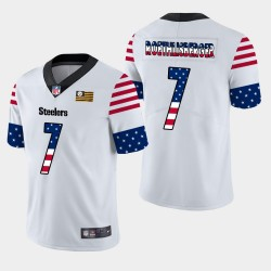 Steelers de Pittsburgh hommes 7 Ben Roethlisberger Independence Day Americana Stars & Stripes Jersey - Blanc