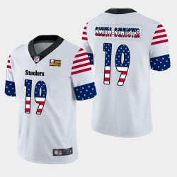 Steelers de Pittsburgh hommes 19 JuJu Smith-Schuster Independence Day Americana Stars & Stripes Jersey - Blanc