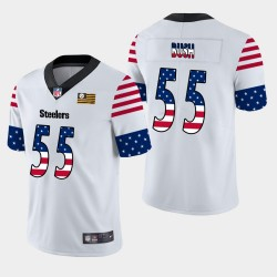 Steelers de Pittsburgh hommes 55 Devin Bush Independence Day Americana Stars & Stripes Jersey - Blanc