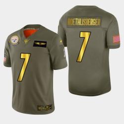 Pittsburgh Steelers hommes 7 Ben Roethlisberger 2019 Salut au service métallique NFL 100 Jersey
