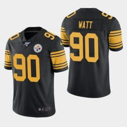 Steelers de Pittsburgh Hommes 90 T.J. Watt 100e saison couleur Rush Jersey - Noir