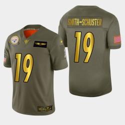 Steelers de Pittsburgh hommes 19 JuJu Smith-Schuster 2019 Salut au service Metallic NFL Jersey 100