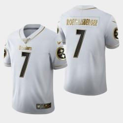 Steelers de Pittsburgh hommes 7 Ben Roethlisberger 100ème Saison Golden Edition Jersey - Blanc