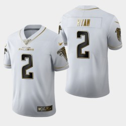 Atlanta Falcons 2 hommes Matt Ryan 100ème Saison Golden Edition Jersey - Blanc