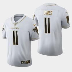 Hommes Atlanta Falcons 11 Julio Jones 100ème Saison Golden Edition Jersey - Blanc