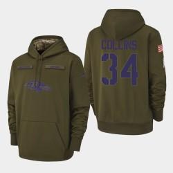 Hommes Baltimore Ravens 34 Alex Collins 2018 Salut à Service Performance Sweat à capuche - Olive