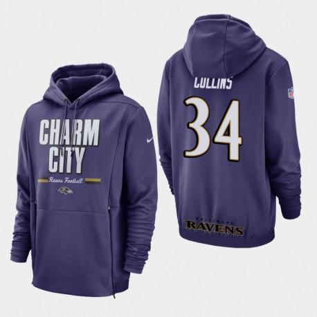Hommes Baltimore Ravens 34 Alex Collins Sideline Lockup Sweat à capuche - Violet