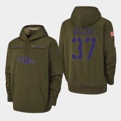 Baltimore Ravens Hommes 37 Javorius Allen 2018 Salut à Service Performance Sweat à capuche - Olive
