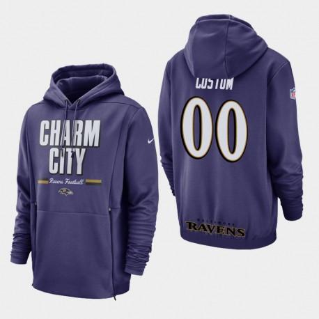 Hommes Baltimore Ravens 00 personnalisés Sideline Lockup Sweat à capuche - Violet