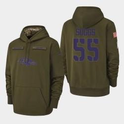 Hommes Baltimore Ravens 55 Terrell Suggs 2018 Salut à Service Performance Sweat à capuche - Olive