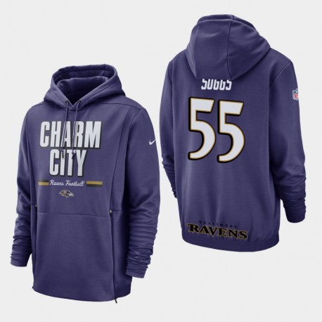 Hommes Baltimore Ravens 55 Terrell Suggs Sideline Lockup Sweat à capuche - Violet
