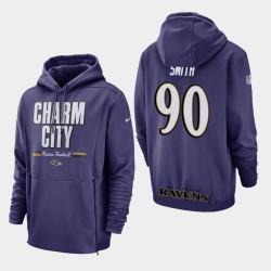 Hommes Baltimore Ravens 90 Za'Darius Smith Sideline Lockup Sweat à capuche - Violet