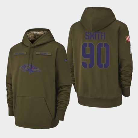 Hommes Baltimore Ravens 90 Za'Darius Smith 2018 Salut à Service Performance Sweat à capuche - Olive