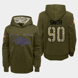 Jeunesse Baltimore Ravens 90 Za'Darius Smith 2018 Salut à Service Performance Sweat à capuche - Olive