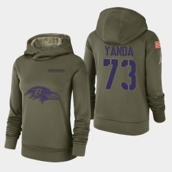 Femmes Baltimore Ravens 73 Marshal Yanda 2018 Salut à Service Performance Sweat à capuche - Olive