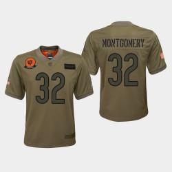 Jeunesse Chicago Bears 32 David Montgomery 2019 Salut au service du jeu Jersey - Camo