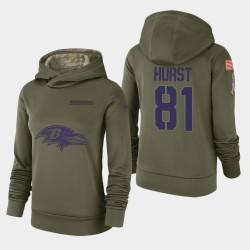 Femmes Baltimore Ravens 81 Hayden Hurst 2018 Salut à Service Performance Sweat à capuche - Olive