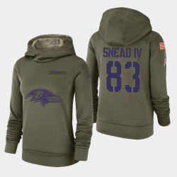 Femmes Baltimore Ravens 83 Willie Snead IV 2018 Salut à Service Performance Sweat à capuche - Olive