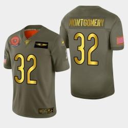 Bears Hommes Chicago 32 David Montgomery 2019 Salut au service métallique NFL 100 Jersey