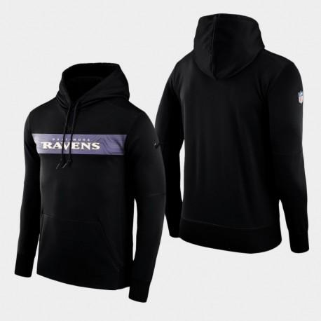 Équipe Baltimore Ravens Men Sideline Performance Sweat à capuche - Noir