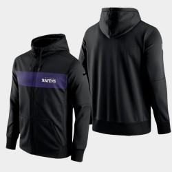 Équipe Baltimore Ravens hommes Sideline Full-Zip Performance Hoodie - Noir