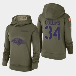 Femmes Baltimore Ravens 34 Alex Collins 2018 Salut à Service Performance Sweat à capuche - Olive