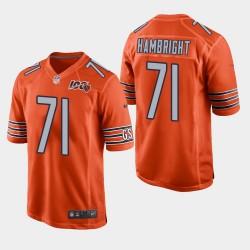 NFL Draft Chicago Bears 71 Arlington Hambright 100ème saison Jersey hommes - Orange