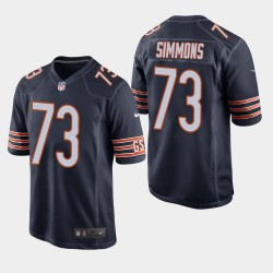 NFL Draft Chicago Bears 73 Lachavious Simmons jeu Jersey hommes - Marine