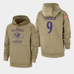 Tucker Justin Men Baltimore Ravens 2019 Salut au service Sideline Therma Sweat à capuche - Tan