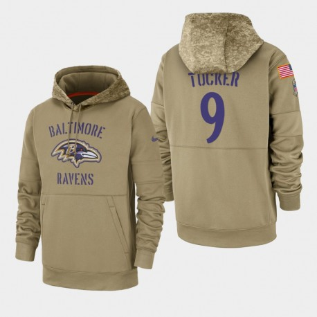 Tucker Justin Men Baltimore Ravens 2019 Salut au service Sideline Therma Sweat à capuche - Tan