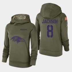 Femmes Baltimore Ravens 8 Lamar Jackson 2018 Salut à Service Performance Sweat à capuche - Olive