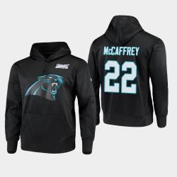 Hommes Carolina Panthers 22 Christian McCaffrey 100ème Saison Logo primaire Sweat à capuche - Noir