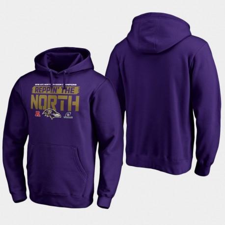 Hommes Baltimore Ravens 2018 AFC Champions Catch Division Nord Juste Sweat à capuche - Violet