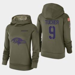 Femmes Baltimore Ravens 9 Justin Tucker 2018 Salut à Service Performance Sweat à capuche - Olive