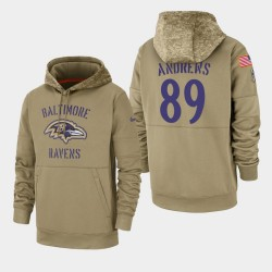 Mark Andrews Baltimore Ravens 2019 hommes Salut au service Sideline Therma Sweat à capuche - Tan