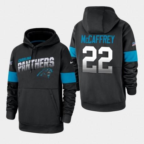 100 Saison Sideline Équipe Carolina Panthers 22 hommes Christian McCaffrey Logo Sweat à capuche - Noir