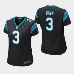 Femmes Carolina Panthers 3 Will Grier 2019 NFL Draft jeu Maillot - Noir
