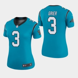 Carolina Panthers Femmes 3 Will Grier 2019 NFL Draft couleur Rush Legend Maillot - Bleu