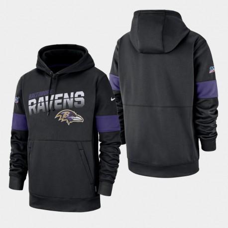Ravens 100e saison Sideline équipe Logo Sweat à capuche - Noir