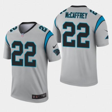 Carolina Panthers Hommes 22 Christian McCaffrey Inverted Legend Jersey - Argent