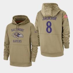 Baltimore Ravens Lamar Jackson 2019 Salut au service Sideline Therma Hoodie - Tan
