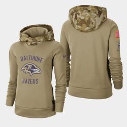 Baltimore Ravens femmes kaki 2019 Salut au service Therma Pull à capuche