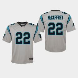 Jeunes Carolina Panthers 22 Christian McCaffrey Inversé Jeu Maillot - Argent