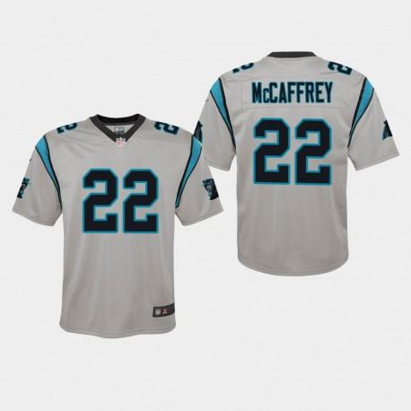 Jeunes Carolina Panthers 22 Christian McCaffrey Inversé Jeu Jersey - Argent