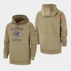 Baltimore Ravens Tan Men 2019 Salut au service Sideline Therma Pull à capuche