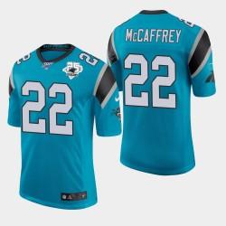 Carolina Panthers Hommes 22 Christian McCaffrey 25e saison classique Maillot limitée - Bleu