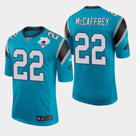 Carolina Panthers Hommes 22 Christian McCaffrey 25e saison classique Jersey limitée - Bleu