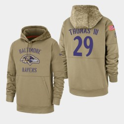 Earl Thomas III Baltimore Ravens 2019 hommes Salut au service Sideline Therma Sweat à capuche - Tan
